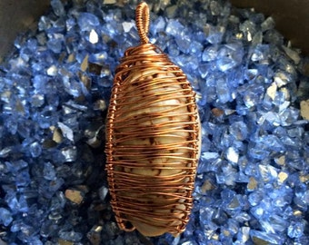 Reversible Wire Wrapped LETTERED OLIVE Shell Pendant In Naturally Darkening Copper Wire - The Sea Witch Collection - Mermaid - Water Magick
