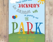Party at the Park - Custom DIGITAL Birthday Party Invitation, any age
