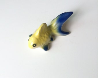 Ceramic Goldfish figure, Yellow Blue Goldfish, mini, animal, tiny animal, small animal, fish, pond, small fish, aquarium, little, iammie