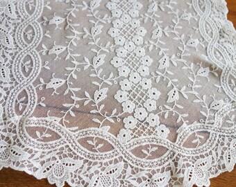 1930s Net Lace Dresser Scarf, Net Lace, 1930s Lace Runner, Needle Run Lace