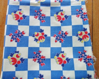 Blue Checkered Feedsack Fabric, 1940-50's Fabric, Blue Checkered Fabric, Red  Fabric, Yardage