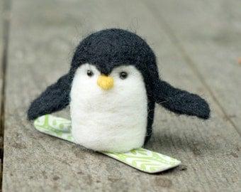 Needle Felted Penguin - Snowboarding