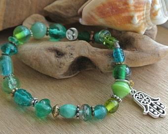 Glass Bead Stretch Bracelet // Stack Bracelet // Teal and Green Bracelet // Gifts For Her // Gifts under 15 // Charm Bracelet // Hamsa //