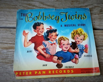 Rare  Red Vinyl 45 RPM The Bobbsey Twins, A Musical Story 1952 Peter Pan Records
