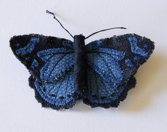Common Gem Textile Butterfly Brooch Natural History Woodland Fashion Nature Lover Textile Art Insect Jewelry