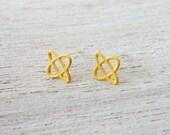 Tiny Saturn Earrings, geometric earrings, signature earrings, space jewelry