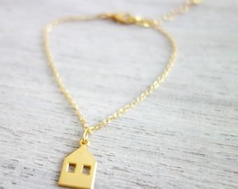 Tiny Copenhagen Bracelet,  minimalist house charm jewelry, girls children kids jewelry