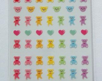 Cute BowtieTeddy Bear & Heart Stickers From Japan