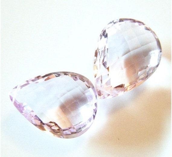 SALE - SAVE 15% - Large Basket Faceted Large Pink Amethyst Briolette Pair