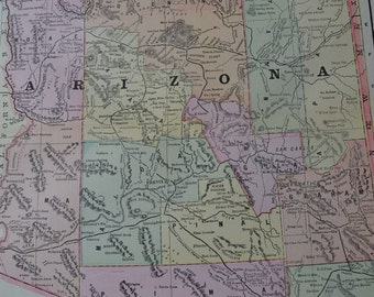 1898 State Map Arizona - Vintage Antique Map Great for Framing 100 Years Old