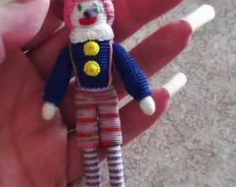 Bonnie's OOAK Crochet Cotton Thread Item  Non Scary  Happy the Clown Doll /Not A Toy
