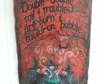 READY to SHIP Shakespeare Witches Hand Painted Banner, Halloween Cecor