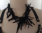 Tribal Fusion, Tribal, festival, burning man, scrappy, fringe leather choker