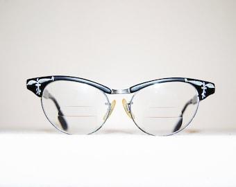Vintage Glasses Black with Silver