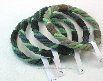 twisted green rope bracelets mixed color grommet bracelets soft bangles hand dyed cotton stackable beach bangles 3633