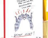 Beast Mode - Funny cat Card - Love Card