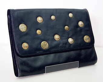 Amazingly Oversize (WAY OVERSIZE) Supple Soft Navy Leather Clutch with Gold Coin Accent