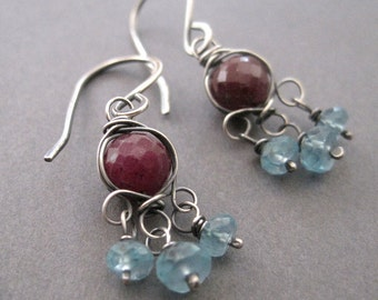 Red Ruby, Aqua Apatite Earrings, Gemstone Chandelier Earrings, Sterling Silver Dangle Earrings, Free ShippingBoho Fashion