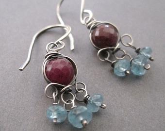 Red Ruby, Aqua Apatite Earrings, Gemstone Chandelier Earrings, Sterling Silver Dangle Earrings, Free ShippingBoho Fashion