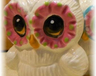 Ceramic Owl  Glazed  Ceramic Owl  Statue  Vintage Design Modern Mold  mcm Ready to ship items in my shop c