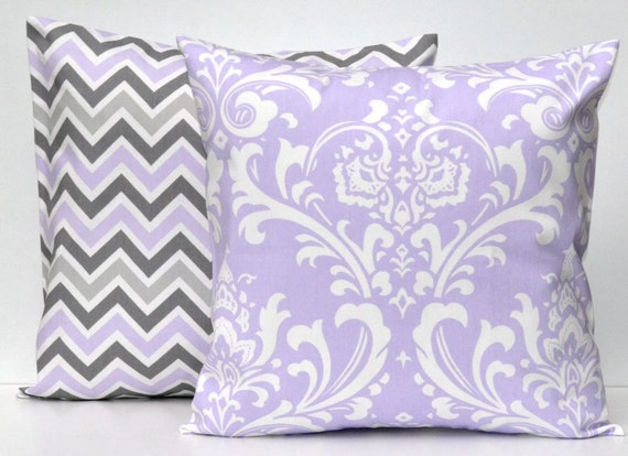 Decorative Pillow Lilac : Lilac Pair of Decorative Throw Pillow Covers by Beeyourselfdesigns