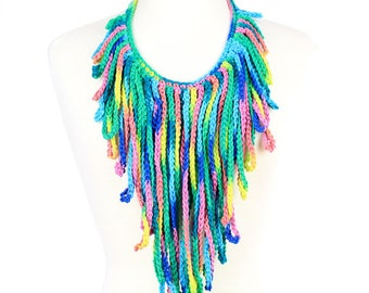 Tropical Punch Crochet Fringe Statment Necklace