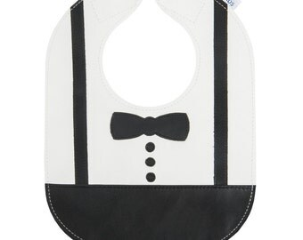Leather Stain Resistant Bib, Bow Tie Bib, Bib with Pocket, Can be Personalized with Baby's Name - baby or toddler size bib