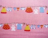 Japanese Cotton Fabric - Sweet Laundry on Pink - Fat Quarter LIMITED YARDAGE