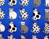 Japanese Fabric Cotton Oxford  - Sitting Cats - Fat Quarter LIMITED YARDAGE