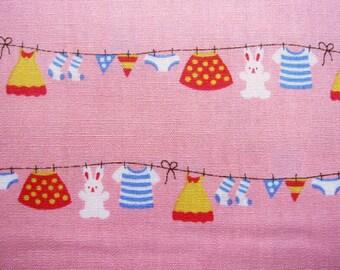 Japanese Cotton Fabric - Sweet Laundry on Pink - Fat Quarter LIMITED YARDAGE