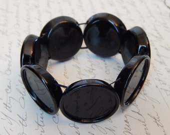 Black Adjustable Stretch Bracelet 1 inch Round Bezel Trays with Matching Glass Cabochons