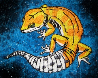 Epic Leopard Gecko Lizard Iron on Patch LIFE LIKE Applique