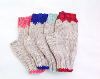 Colorful Knit Fingerless Gloves - Luxurious Gloves - Gray Knit Gloves - Gifts for Mom - Soft Wool Gloves - Red Gloves - Blue Gloves