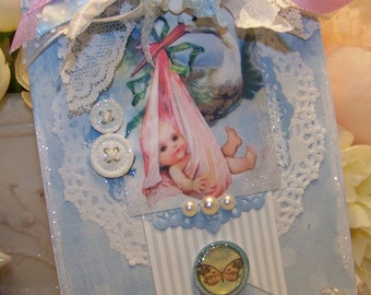 Baby Card Baby Boy Card Baby Girl Card Vintage Style
