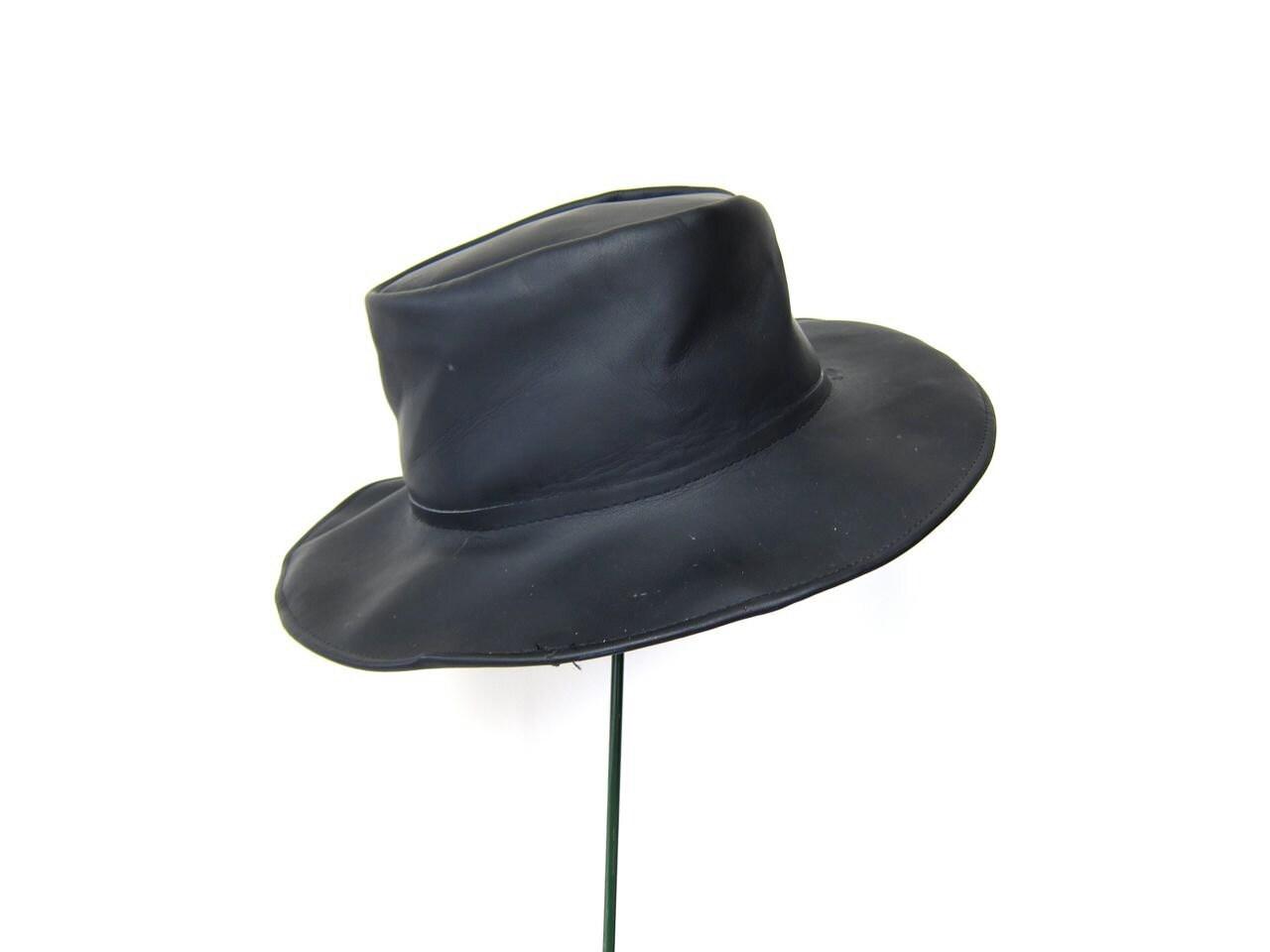 vintage black leather hat western indiana jones