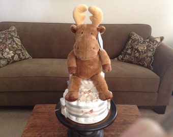 Moose Diaper Cake Baby Shower Centerpiecel other colors and sizes too