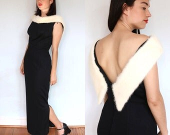 1950's Backless Black Dress with Rabbit Fur Collar/Evening Gown/ Full Length Dress/ Fur Trim/ Mr. Frank