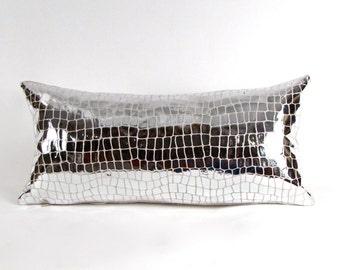Croc Embossed Silver Pillow ~ Italian Leather Pillow ~ Small Leather Pillow ~ Embossed Leather Accent Pillow ~ Metallic Silver Lumbar Pillow
