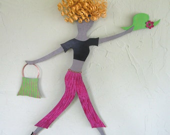 Metal Wall Art Shopper Lady Art Sculpture - Babs - Reclaimed Metal Wall Decor Blonde Pink Lime Green  19 x 21