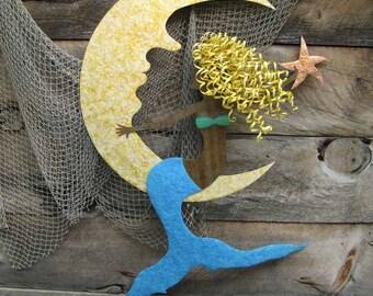 Large Metal Wall Mermaid - Diedre - Reclaimed Metal Beach House Moon Mermaid Wall Decor 48 x 32 Blonde Aqua Blue