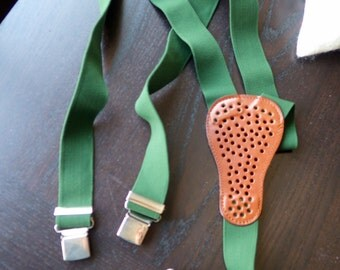 Vintage/Rare Fiorucci Suspenders - Racing Car Green Color and Leather.