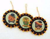 3 Halloween Ornaments with Vintage Style Images