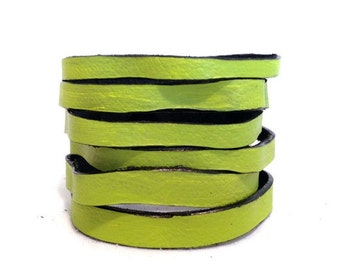 """50% OFF SALE Green Leather multi strand Cuff bracelet Wristband  Leather jewelry """"A splash of color"""" collection"""
