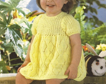 "PDF Knitting Pattern Baby Dress Size 18-20"" DK, 8ply, Worsted Weight"