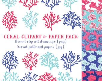 Coral Clip Art & Paper Pack (Instant Download)