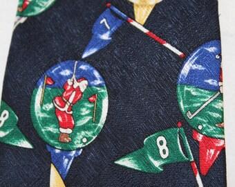 Vintage Christmas Holiday Necktie, Golfing Santa, Silk, by St. Nick's Tie Shop