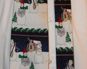 Vintage Silk Christmas Necktie by Holidays, Caroling Snowmen, 1980's