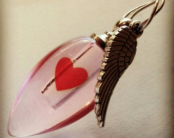 Fill Yourself Crystal Cremation Ash Urn Heart with Angel Wing Cremation Ash Vial Urn Necklace Pet Cremation