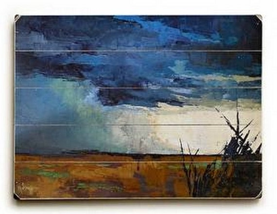 Abstract Landscape Giclee Print On Wood Plank Storm Painting