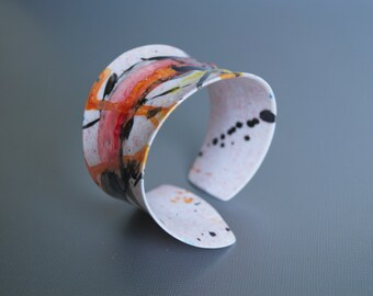 Bracelet  The Lady Fashion In Living Color In My Dreams Abstract miniature painting Cuff